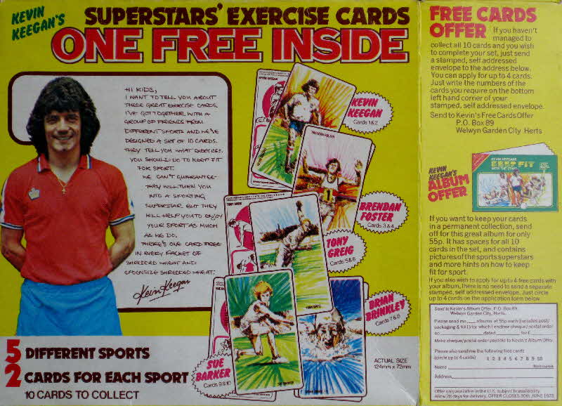 1977 Shredded Wheat Kevin Keegan Keep Fit with the Stars