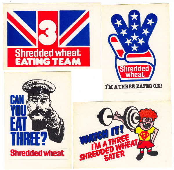 1981 Shredded Wheat 3 Shredded Wheat stickers
