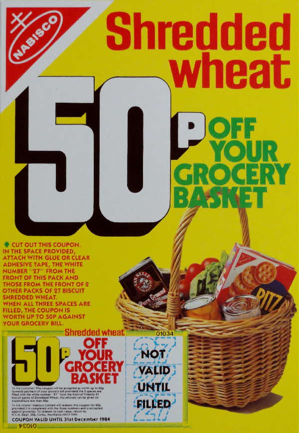 1983 Shredded Wheat 50p off Next Grocery Basket