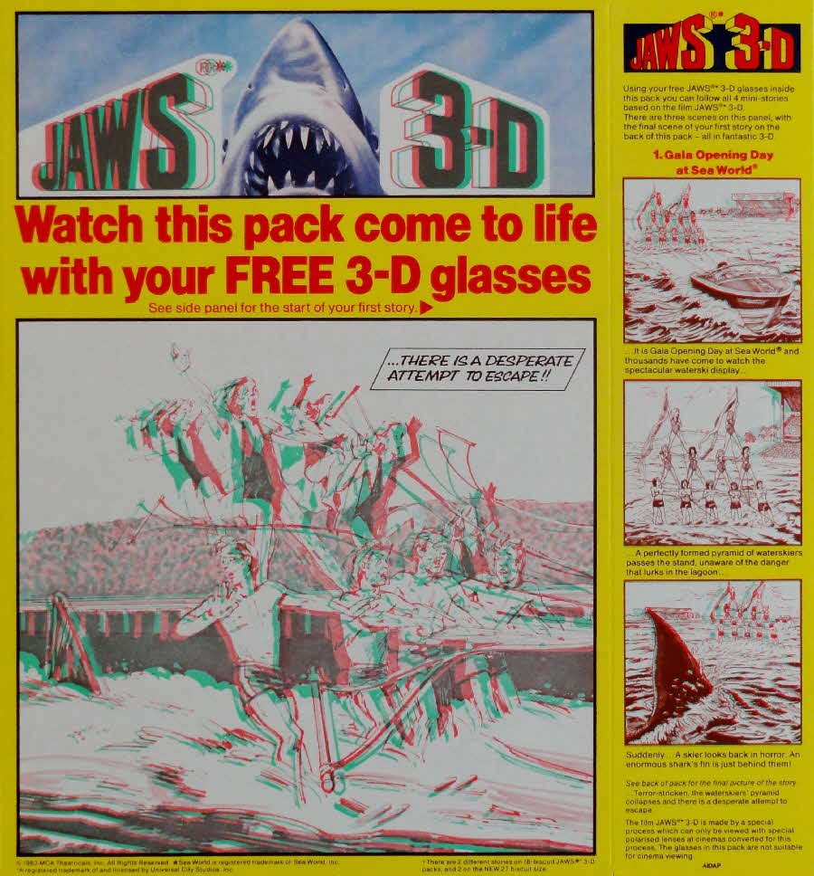 1983 Shredded Wheat Jaws 3D Escape