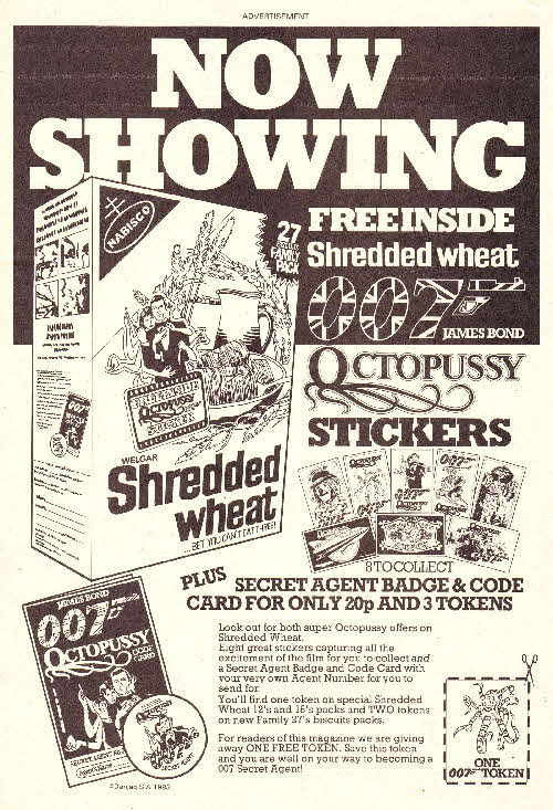 1983 Shredded Wheat James Bond Octopussy Stickers