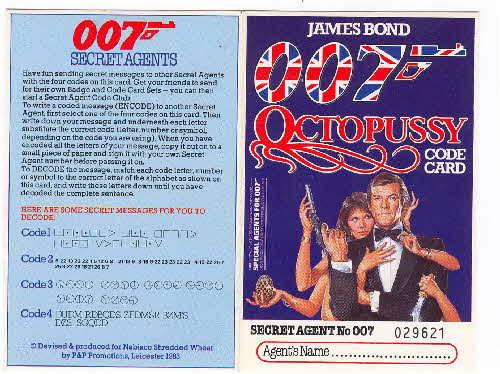 1983 Shredded Wheat Octopussy 007 Secret Agent card 1