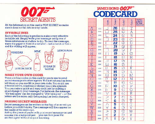 1983 Shredded Wheat Octopussy 007 Secret Agent card 2