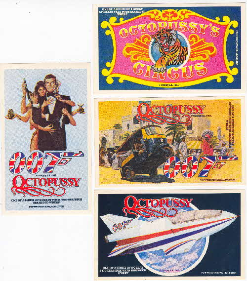 1983 Shredded Wheat Octopussy 007 stickers 2