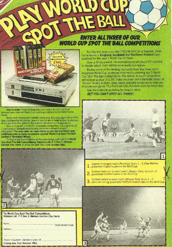 1982 Shredded Wheat Spot the Ball Competition