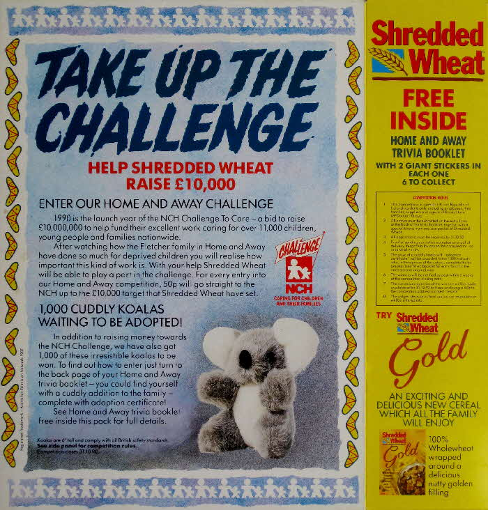 1989 Shredded Wheat Home & Away Trivia books