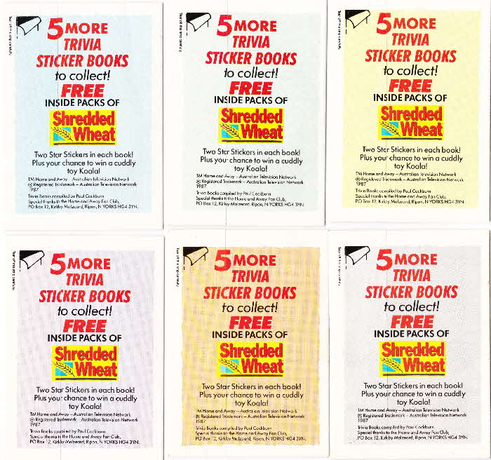 1989 Shredded Wheat Home & Away Trivia sticker book back
