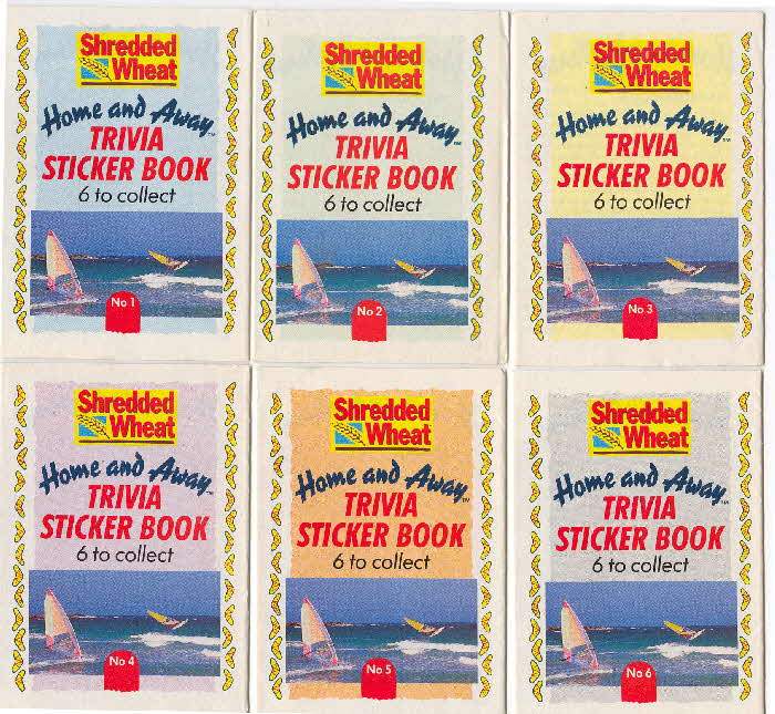 1990 Shredded Wheat Home & Away Trivia sticker book