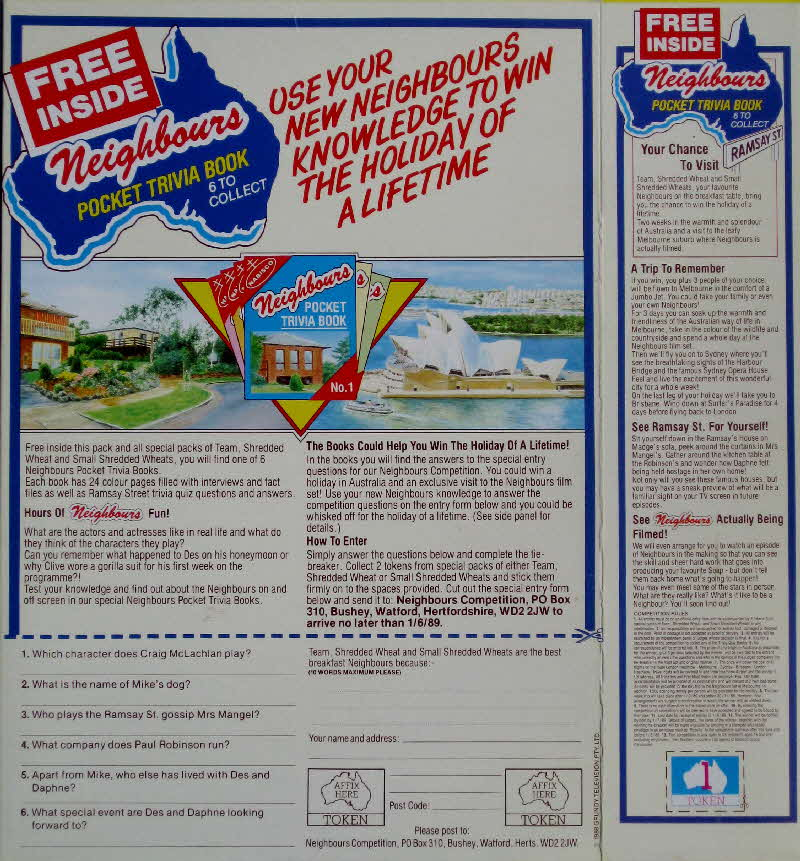1988 Shredded Wheat Neighbours Trivia book
