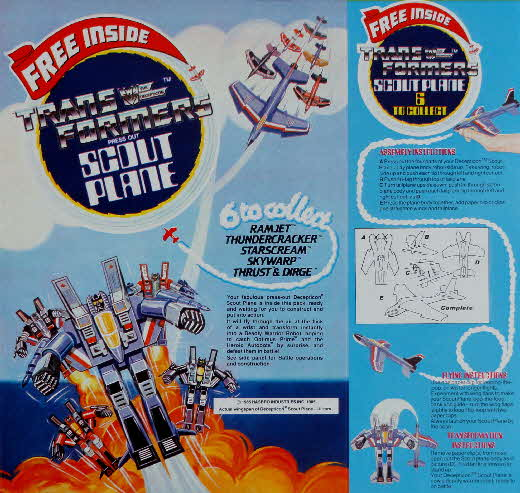 1985 Shredded Wheat Transforemers Scout Plane