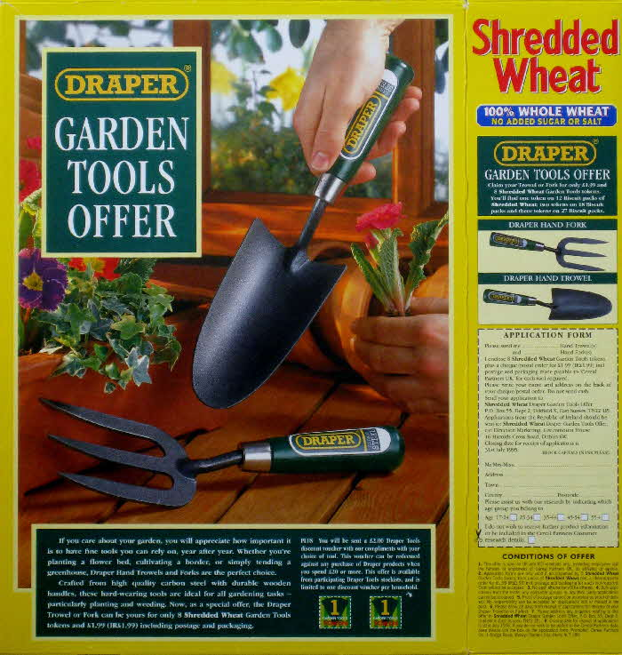 1994 draper garden tools issued with nestle shredded wheat for Gardening tools list 94