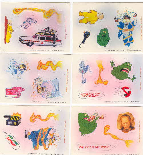 1990 Shreddies Ghostbusters 2 Action stickers back