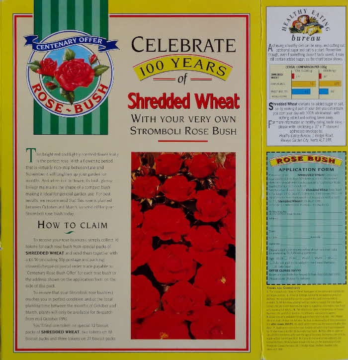 1992 Shredded Wheat Centenary Rose Offer