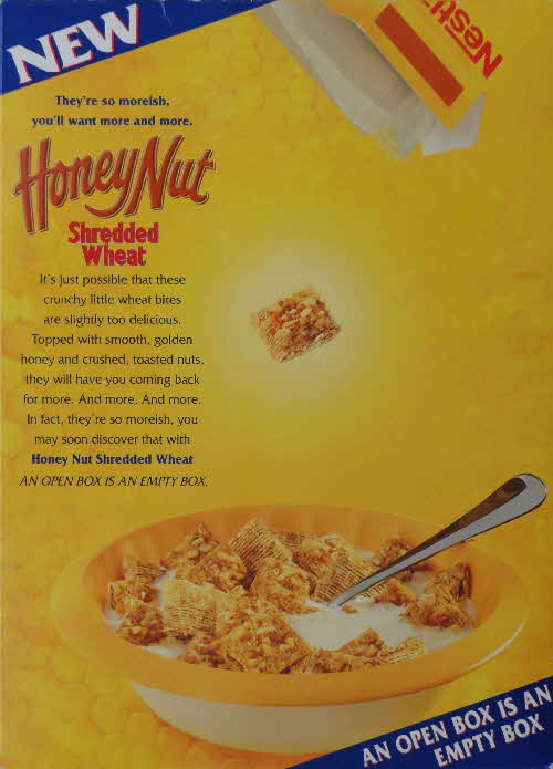 1997 Honey Nut Shredded Wheat open box is eempty