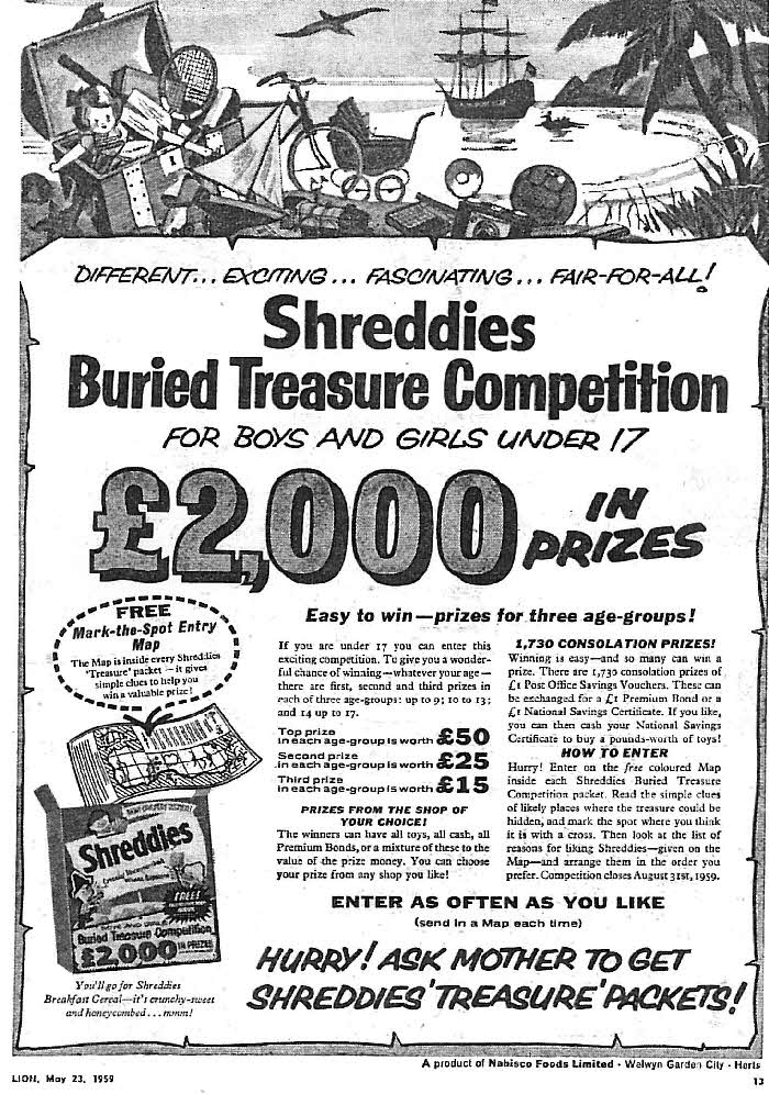 1959 Shreddies Buried Treasure Competition 2