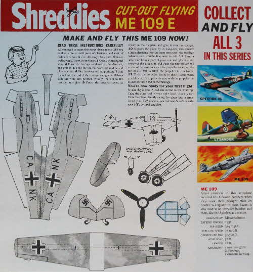 1963 Shreddies Cut out Flying Models Famous Planes - ME109