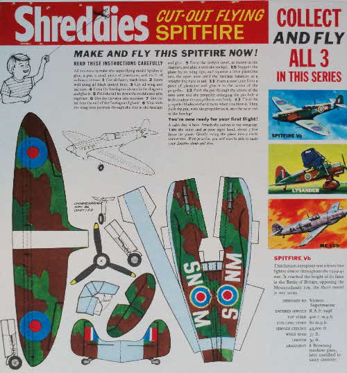 1963 Shreddies Cut out Flying Models Famous Planes - Spitfire