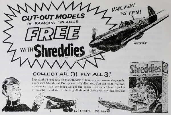 1963 Shreddies Cut out Flying Models Famous Planes