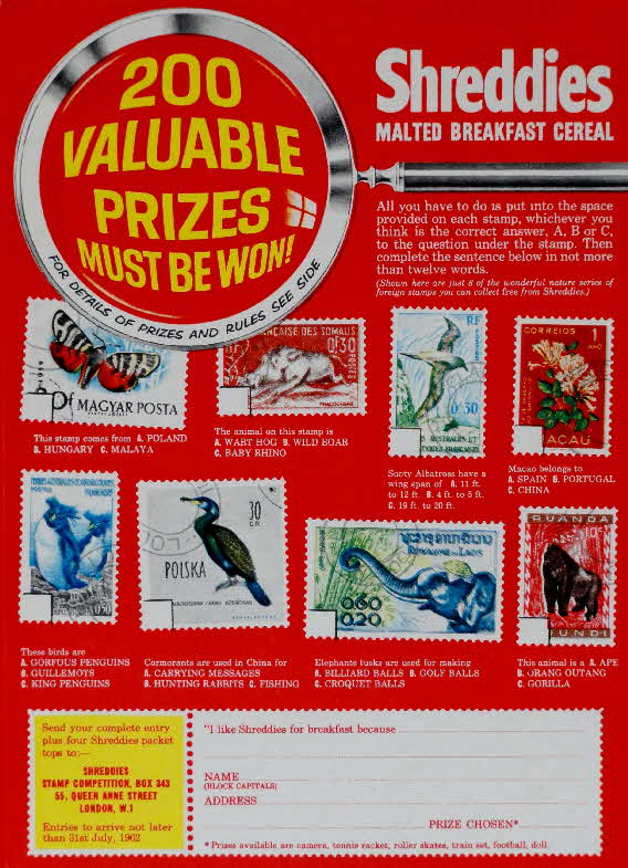 1962 Shreddies Free Foreign Stamps and Competition (1)
