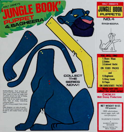 1966 Shreddies Jungle Book Puppet no 4 Bagherra