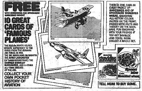 1970 Shreddies Famous Planes