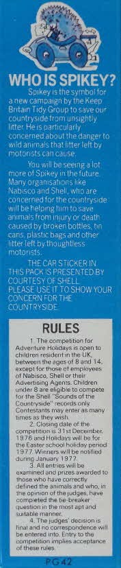 1976 Shreddies Spikey Sticker & Nature Competition (2)