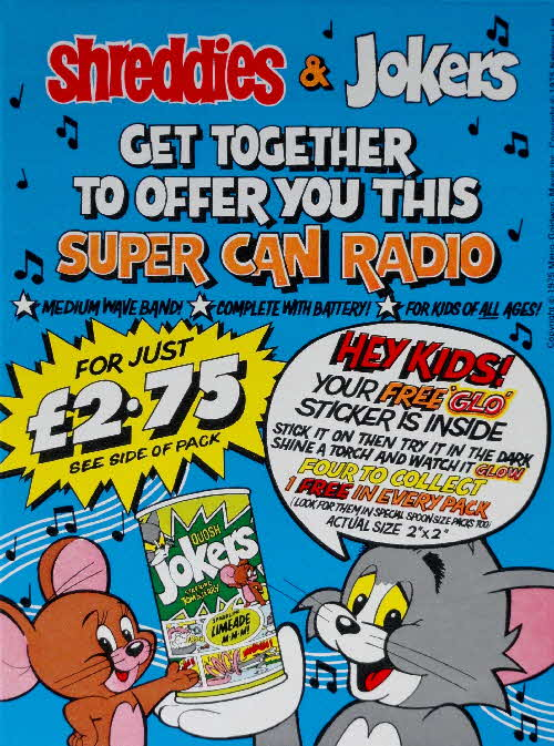 1975 Shreddies Tom & Jerry Glo Stickers & Super Can Radio (1)