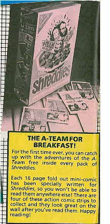 1985 Shreddies A Team Comics advert
