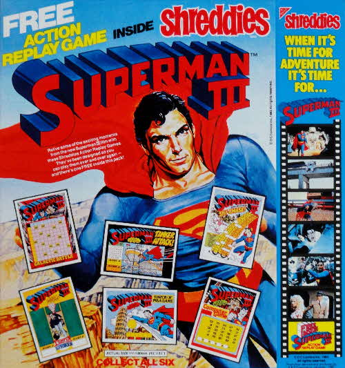 1983 Shreddies Superman 3 Action Replay Cards