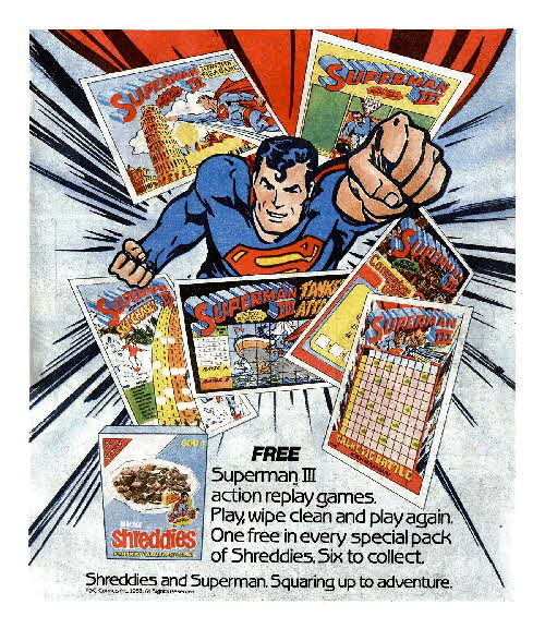 1983 Shreddies Superman 3 Play n Wipe game