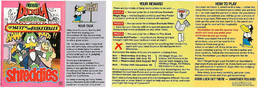 1989 Shreddies Count Duckula Scratchcards Book 1 Page 1