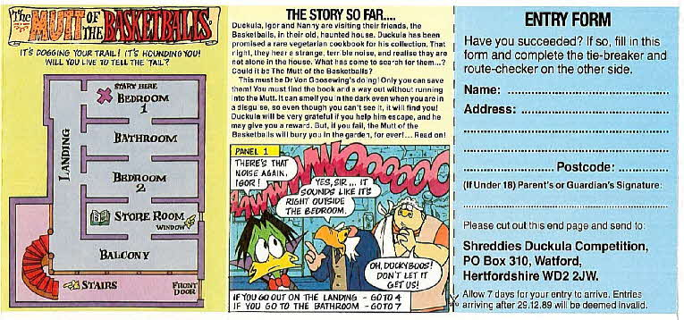 1989 Shreddies Count Duckula Scratchcards Book 1 Page 2