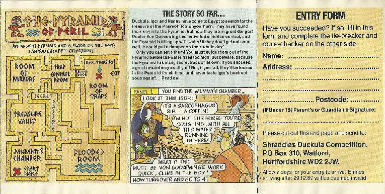 1989 Shreddies Count Duckula Scratchcards Book 2 Page 2