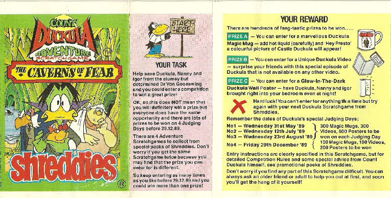 1989 Shreddies Count Duckula Scratchcards Book 3 Page 1