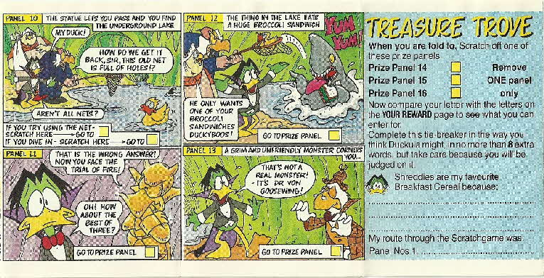 1989 Shreddies Count Duckula Scratchcards Book 3 Page 4