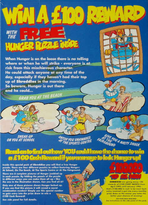 1995 Hunger Puzzle issued with Nabisco Shreddies cereal