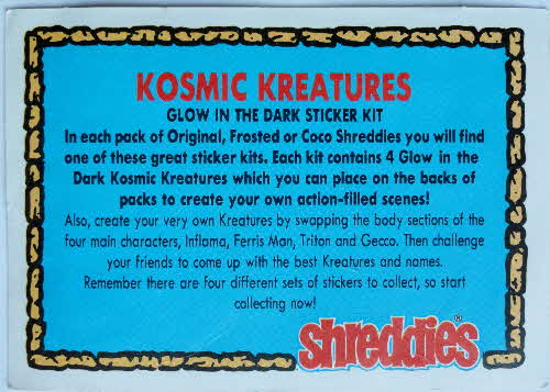 1991 Shreddies Kosmic Kreatures Glow in Dark Sticker - reverse