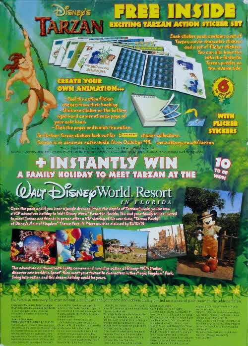 1999 Shreddies Tarzan Action Stickers & Walt Disney World Competition