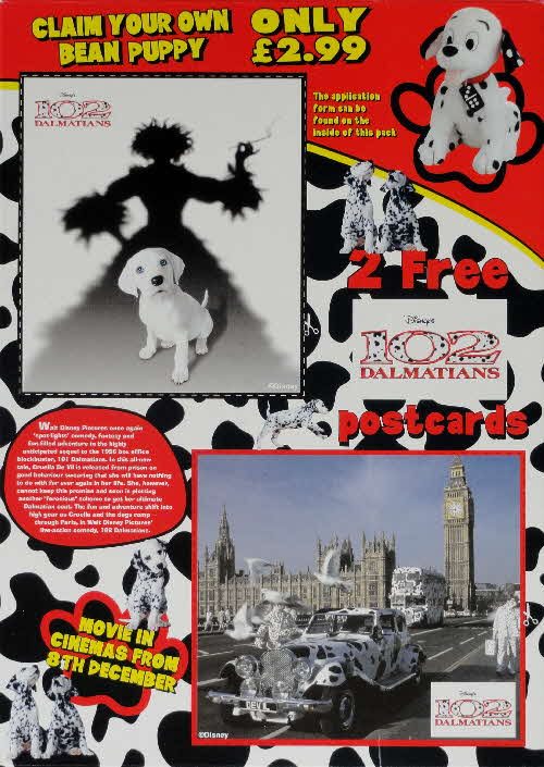 2000 Shreddies 102 Dalmations Postcards & Bean Puppy