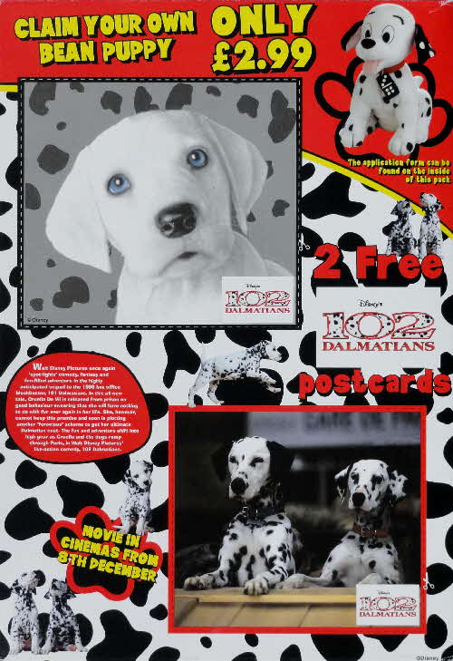 2000 Shreddies 102 Dalmations Postcards & Puppy Bean toy