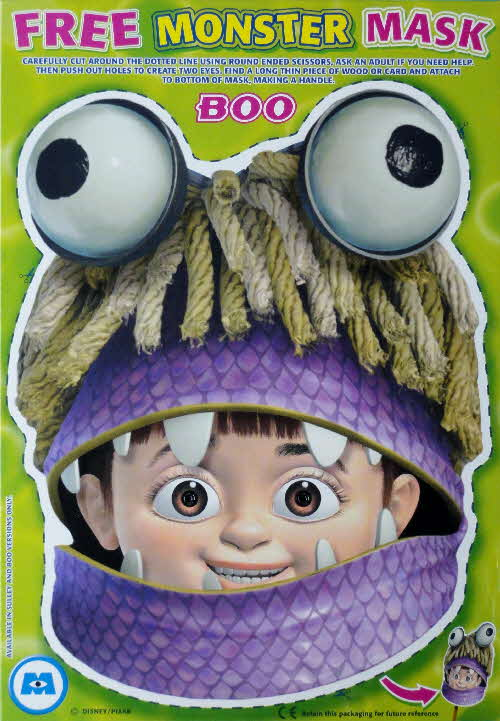 2002 Shreddies Monster Inc Boo Mask