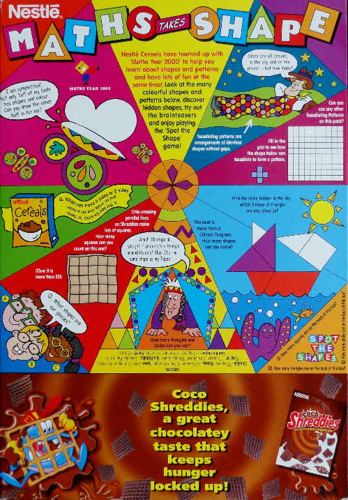 2000 Shreddies Stuart Little Sticker Calendar back Maths & Shapes