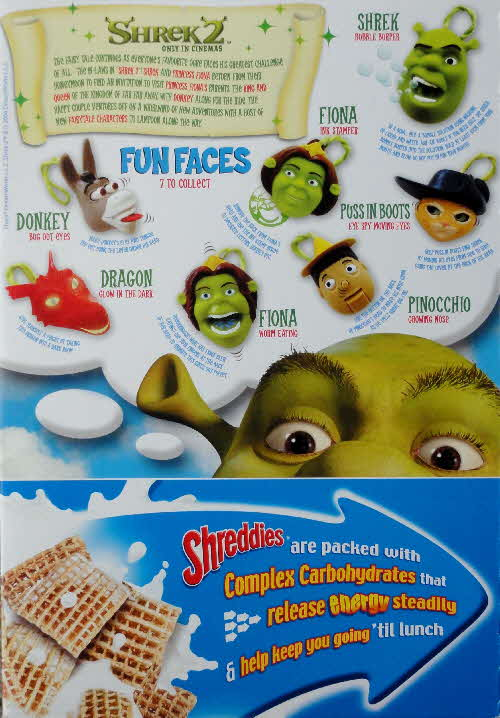 2004 Shreddies Shrek 2 Fun Faces