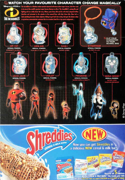 2004 Shreddies The Incredibles Character Tags (1)