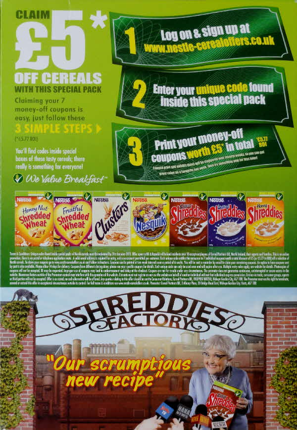 2009 Shreddies £5 off cereals