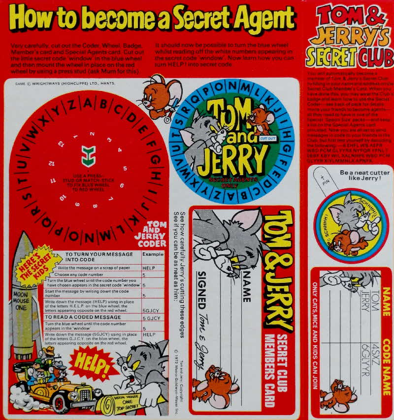 1972 Spoonsize Tom & Jerry Secret Coder