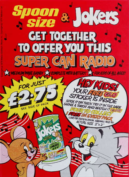 1975 Apoonsize Tom & Jerry Glo Stickers & Super Can Radio (1)