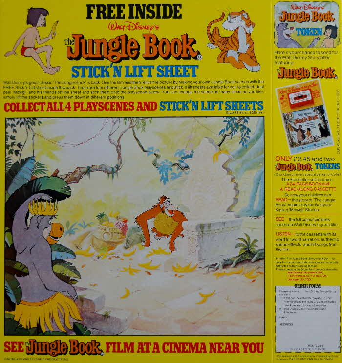 1983 Spoonsize Jungle Book Stick n Lift Sheet & Readalong set