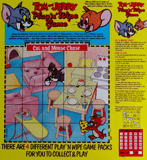 1981 Spoonsize Tom & Jerry Play n Wipe Cat and Mouse Chase