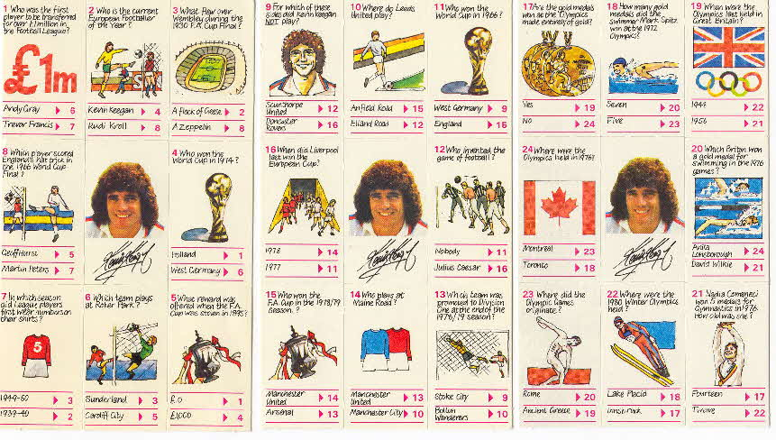1980 Shredded Wheat Kevin Keegan's Quiz cards 1